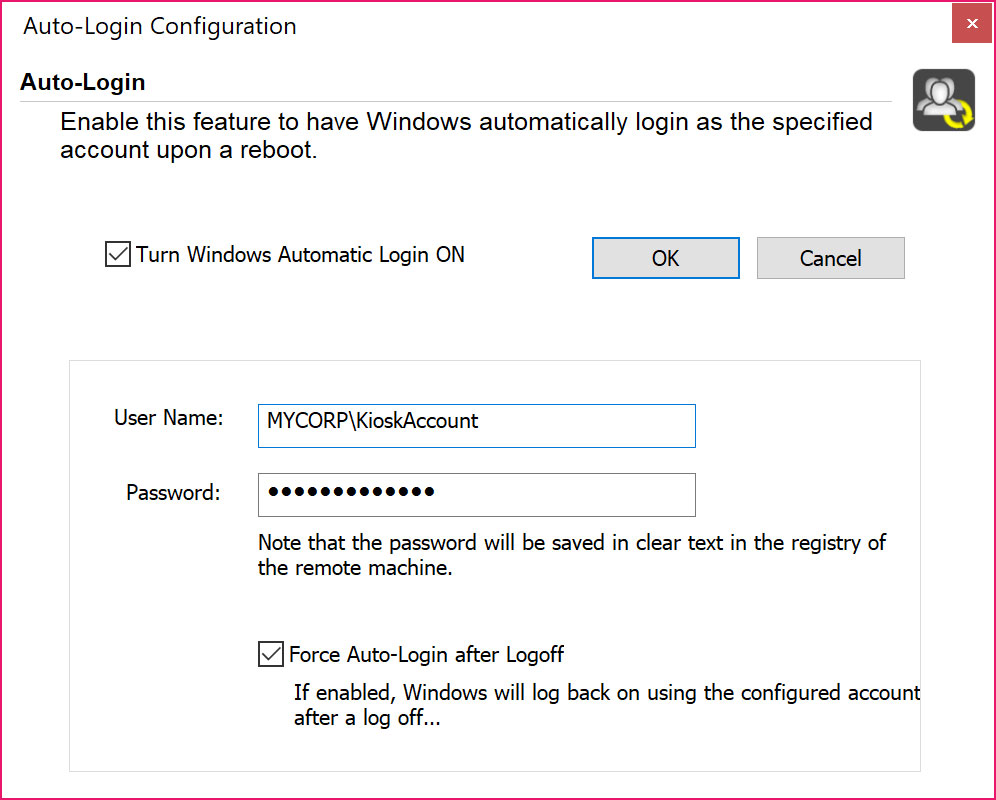 Remote Control Tool: Windows Auto Login.